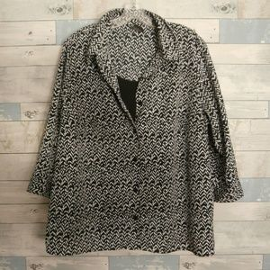 George Black & White Print Blouse With Cami - F14